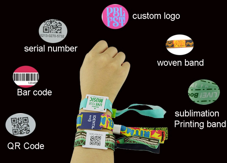 Woven Wristband With Plastic Tag